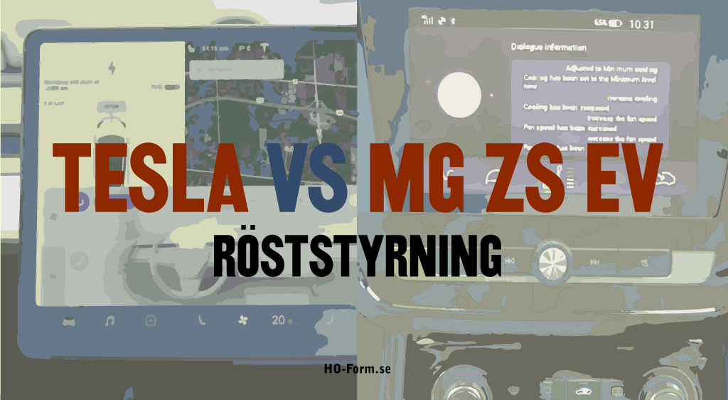 "MG ZS EV VS Teslas voice command -""röststyrning""."