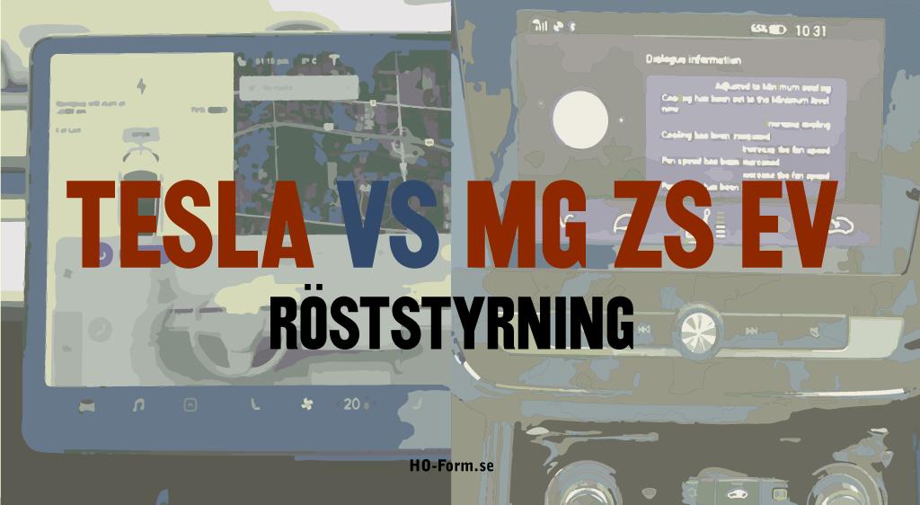 """MG ZS EV VS Teslas voice command -""""röststyrning""""."""