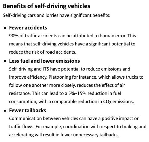 Fördelar med självkörande fordon
